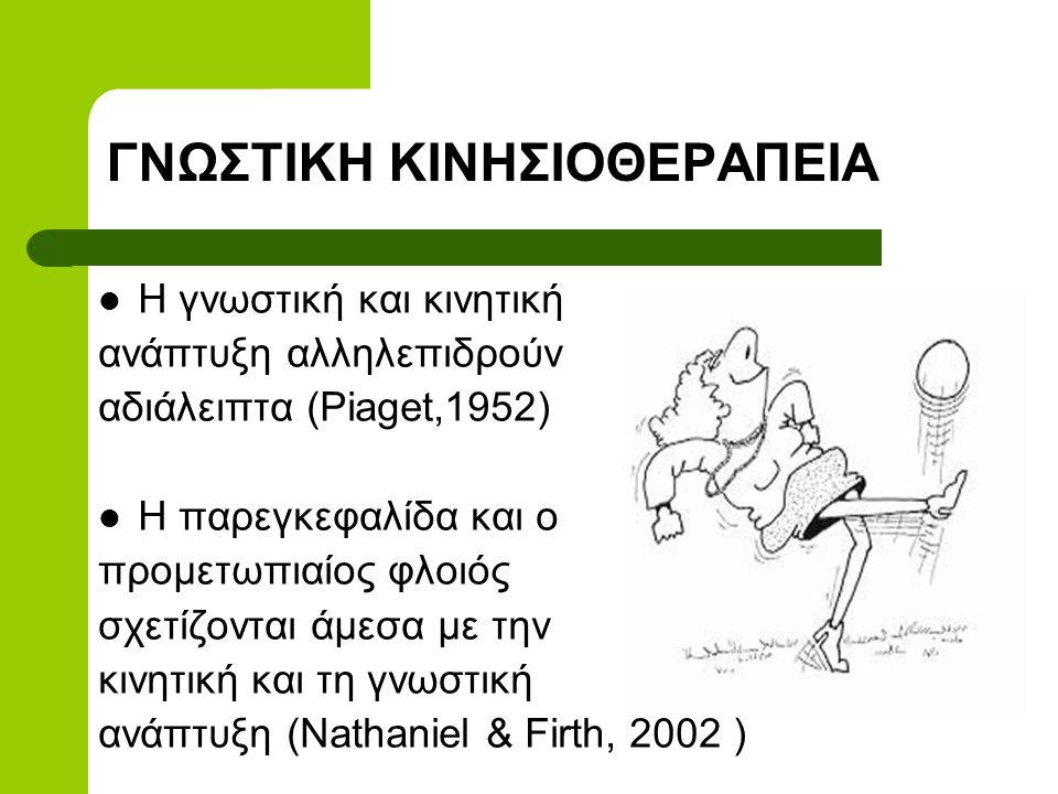 ΓΝΩΣΤΙΚΗ ΚΙΝΗΣΙΟΘΕΡΑΠΕΙΑ  Η γνωστική και κινητική ανάπτυξη αλληλεπιδρούν αδιάλειπτα (Piaget,1952)  Η παρεγκεφαλίδα και ο προμετωπιαίος φλοιός σχετίζονται άμεσα με την κινητική και τη γνωστική ανάπτυξη (Nathaniel & Firth, 2002 )