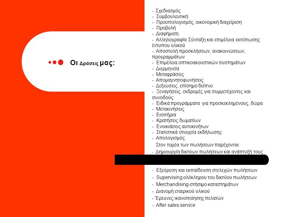 - Σχεδιασμός - Συμβουλευτική - Προϋπολογισμός, οικονομική διαχείριση - Προβολή - Διαφήμιση - Αλληλογραφία Σύνταξη και επιμέλεια εκτύπωσης έντυπου υλικού - Αποστολή προσκλήσεων, ανακοινώσεων, προγραμμάτων - Επιμέλεια οπτικοακουστικών συστημάτων - Διερμηνεία - Μεταφράσεις - Απομαγνητοφωνήσεις - Δεξιώσεις, επίσημο δείπνο - Ξεναγήσεις, εκδρομές για συμμετέχοντες και συνοδούς - Ειδικά προγράμματα για προσκεκλημένους, δώρα - Μετακινήσεις - Εισιτήρια - Κρατήσεις δωματίων - Ενοικιάσεις αυτοκινήτων - Στατιστικά στοιχεία εκδήλωσης - Απολογισμός Στον τομέα των πωλήσεων παρέχονται: - Δημιουργία δικτύων πωλήσεων και ανάπτυξή τους - Εξεύρεση και εκπαίδευση στελεχών πωλήσεων - Supervising ολόκληρου του δικτύου πωλήσεων - Merchandising-στήσιμο καταστημάτων - Διανομή εταιρικού υλικού - Έρευνες ικανοποίησης πελατών - After sales service Οι Δράσεις μας: