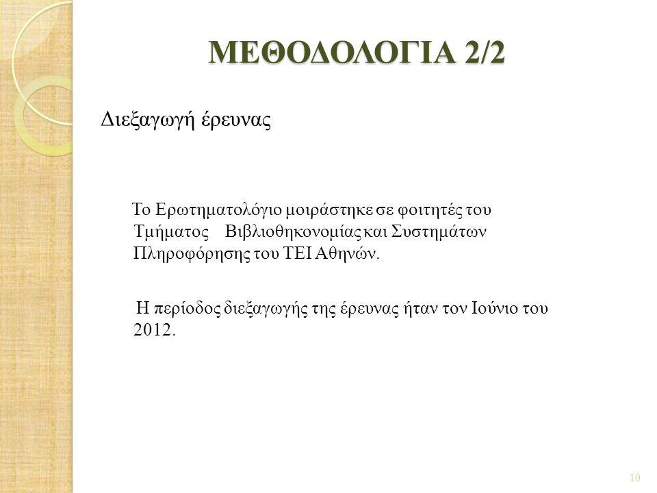 ΜΕΘΟΔΟΛΟΓΙΑ 2/2 Διεξαγωγή έρευνας Το Ερωτηματολόγιο μοιράστηκε σε φοιτητές του Τμήματος Βιβλιοθηκονομίας και Συστημάτων Πληροφόρησης του ΤΕΙ Αθηνών. Η