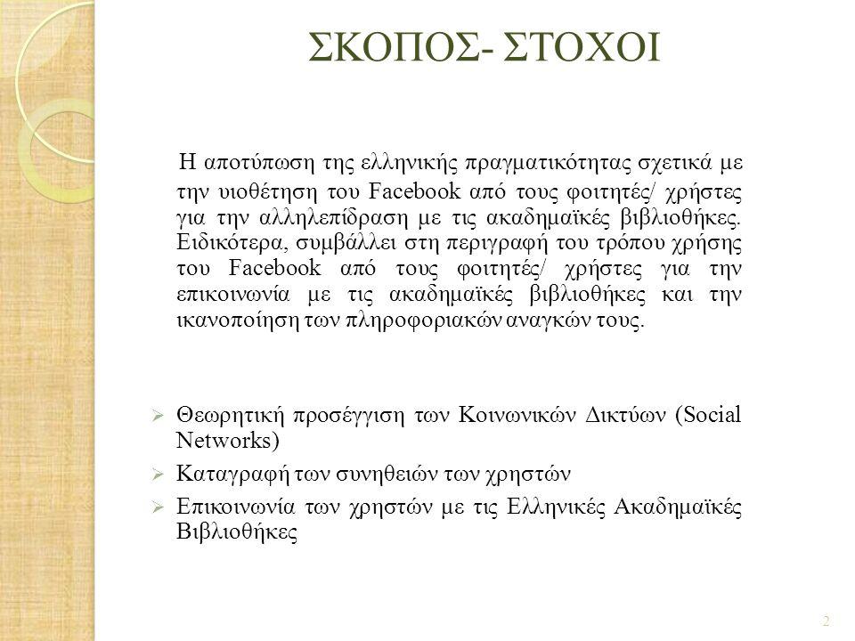 ΣΚΟΠΟΣ- ΣΤΟΧΟΙ Η αποτύπωση της ελληνικής πραγματικότητας σχετικά με την υιοθέτηση του Facebook από τους φοιτητές/ χρήστες για την αλληλεπίδρα