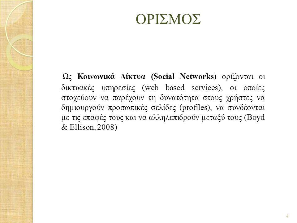 ΟΡΙΣΜΟΣ Ως Κοινωνικά Δίκτυα (Social Networks) ορίζονται οι δικτυακές υπηρεσίες (web based services), οι οποίες στοχεύουν να παρέχουν τη δυνατότητα στο