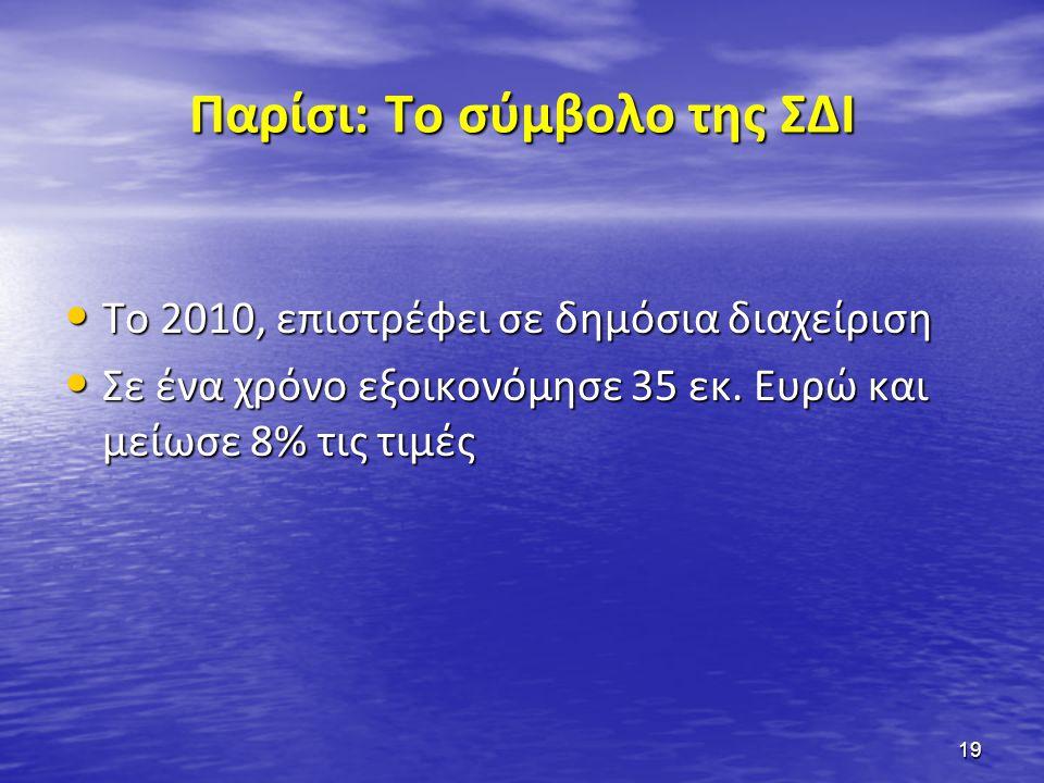 Παρίσι: Το σύμβολο της ΣΔΙ • Το 2010, επιστρέφει σε δημόσια διαχείριση • Σε ένα χρόνο εξοικονόμησε 35 εκ. Ευρώ και μείωσε 8% τις τιμές 19