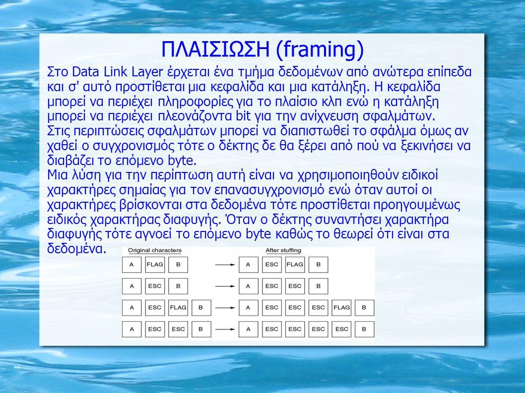 ΠΛΑΙΣΙΩΣΗ (framing) Στο Data Link Layer έρχεται ένα τμήμα δεδομένων από ανώτερα επίπεδα και σ' αυτό προστίθεται μια κεφαλίδα και μια κατάληξη. Η κεφαλ