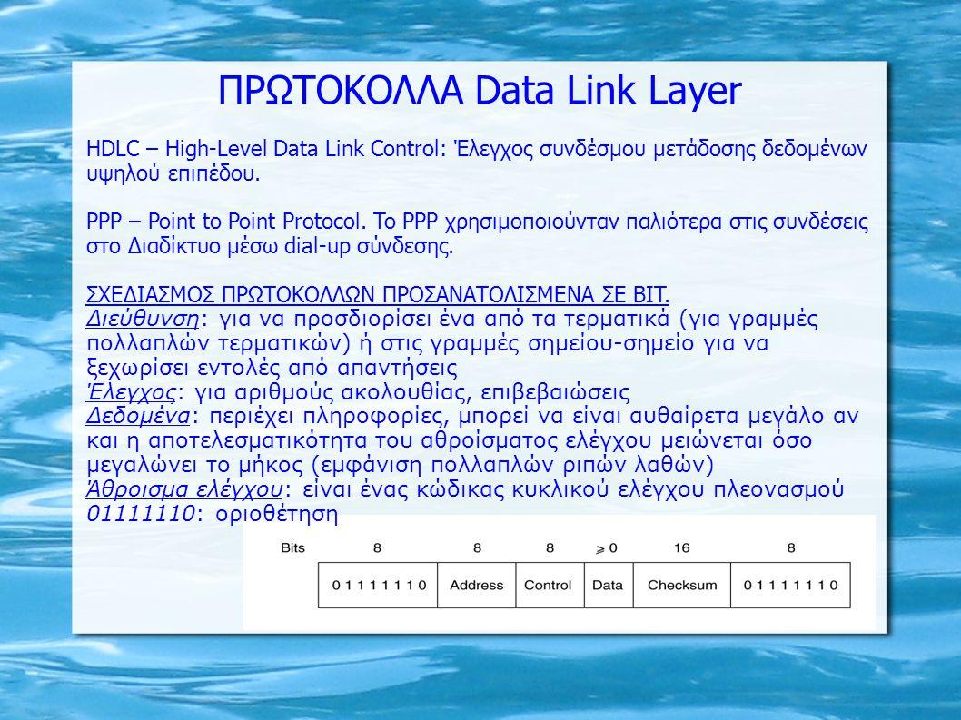 ΠΡΩΤΟΚΟΛΛΑ Data Link Layer HDLC – High-Level Data Link Control: Έλεγχος συνδέσμου μετάδοσης δεδομένων υψηλού επιπέδου. PPP – Point to Point Protocol.