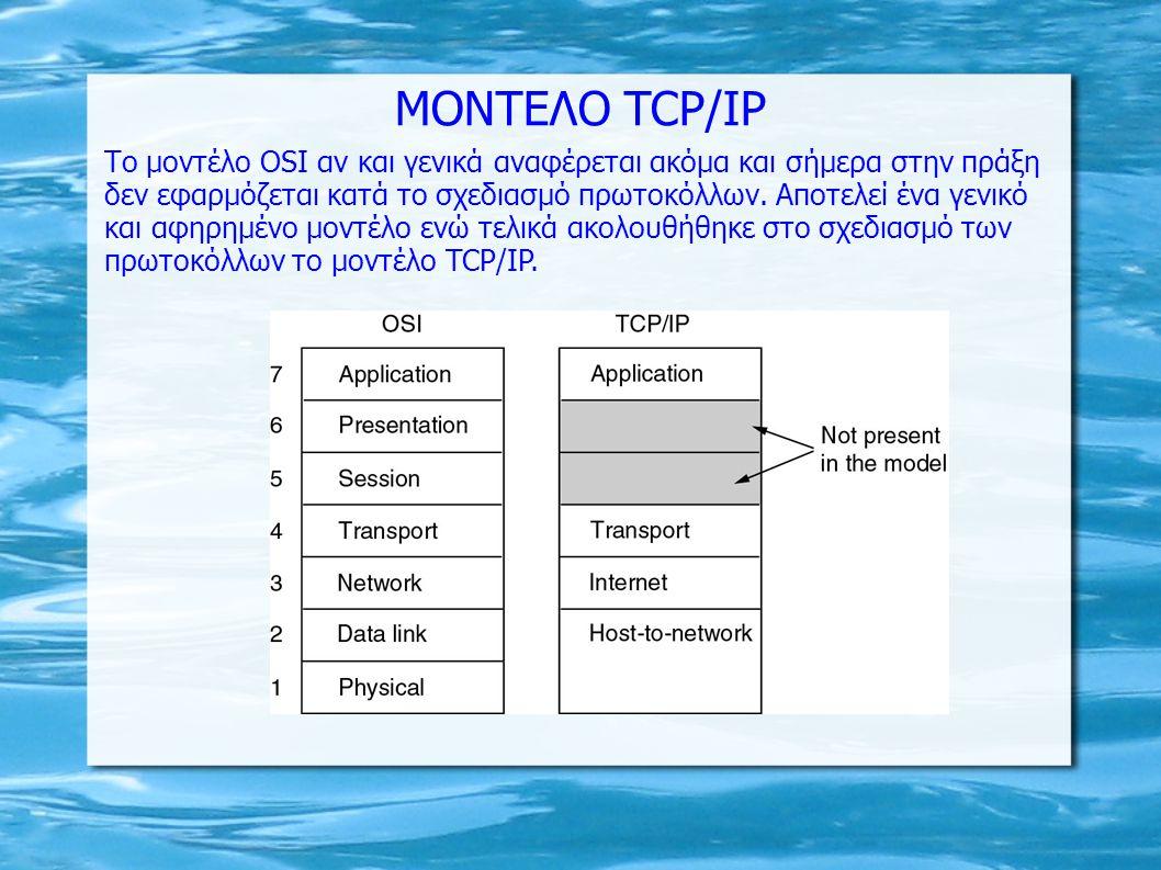 MONTEΛΟ TCP/IP Tο μοντέλο OSI αν και γενικά αναφέρεται ακόμα και σήμερα στην πράξη δεν εφαρμόζεται κατά το σχεδιασμό πρωτοκόλλων. Αποτελεί ένα γενικό