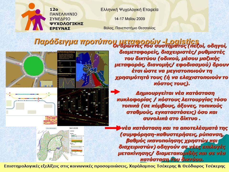 Επιστημολογικές εξελίξεις στις κοινωνικές προσομοιώσεις, Χαράλαμπος Τσέκερης & Θεόδωρος Τσέκερης Παράδειγμα προτύπου μεταφορών -Logistics Οι δρώντες τ