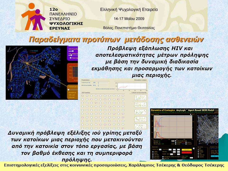 Επιστημολογικές εξελίξεις στις κοινωνικές προσομοιώσεις, Χαράλαμπος Τσέκερης & Θεόδωρος Τσέκερης Παραδείγματα προτύπων μετάδοσης ασθενειών Πρόβλεψη εξ