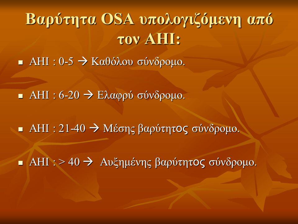 Βαρύτητα OSA υπολογιζόμενη από τον ΑΗΙ:  ΑΗΙ : 0-5  Καθόλου σύνδρομο.  ΑΗΙ : 6-20  Ελαφρύ σύνδρομο.  ΑΗΙ : 21-40  Μέσης βαρύτητ ος σύνδρομο.  Α