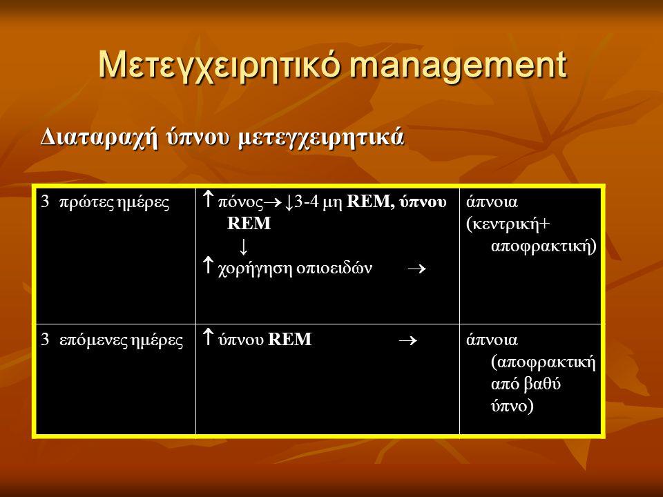 Μετεγχειρητικό management Διαταραχή ύπνου μετεγχειρητικά 3 πρώτες ημέρες  πόνος  ↓3-4 μη REM, ύπνου REM ↓  χορήγηση οπιοειδών  άπνοια (κεντρική+ α