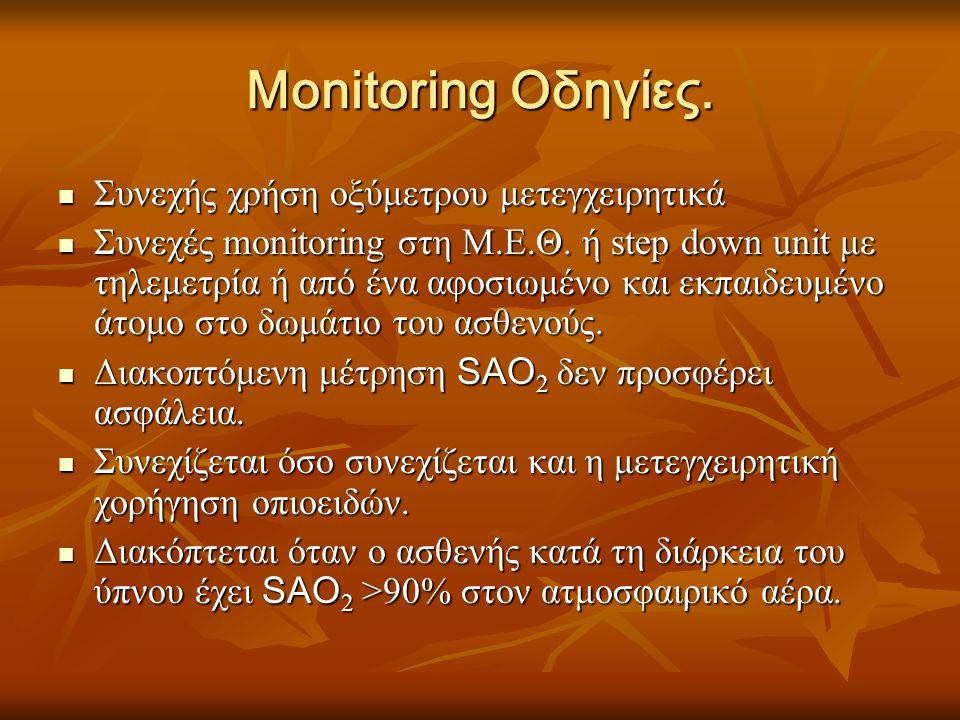 Monitoring Οδηγίες.  Συνεχής χρήση οξύμετρου μετεγχειρητικά  Συνεχές monitoring στη Μ.Ε.Θ. ή step down unit με τηλεμετρία ή από ένα αφοσιωμένο και ε