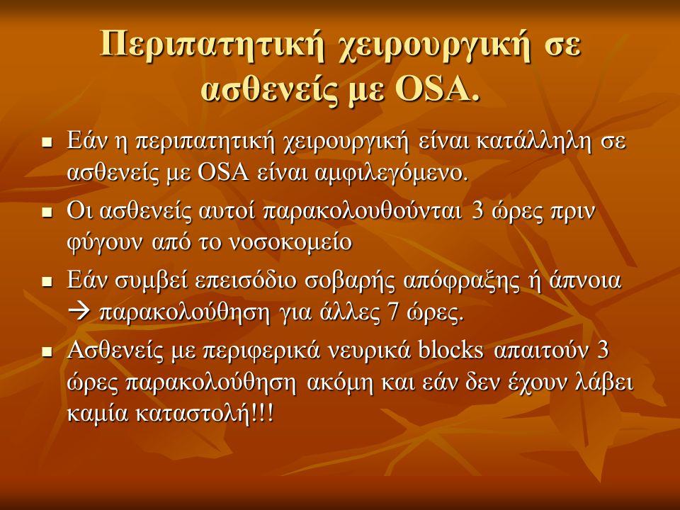 Περιπατητική χειρουργική σε ασθενείς με OSA.  Εάν η περιπατητική χειρουργική είναι κατάλληλη σε ασθενείς με OSA είναι αμφιλεγόμενο.  Οι ασθενείς αυτ