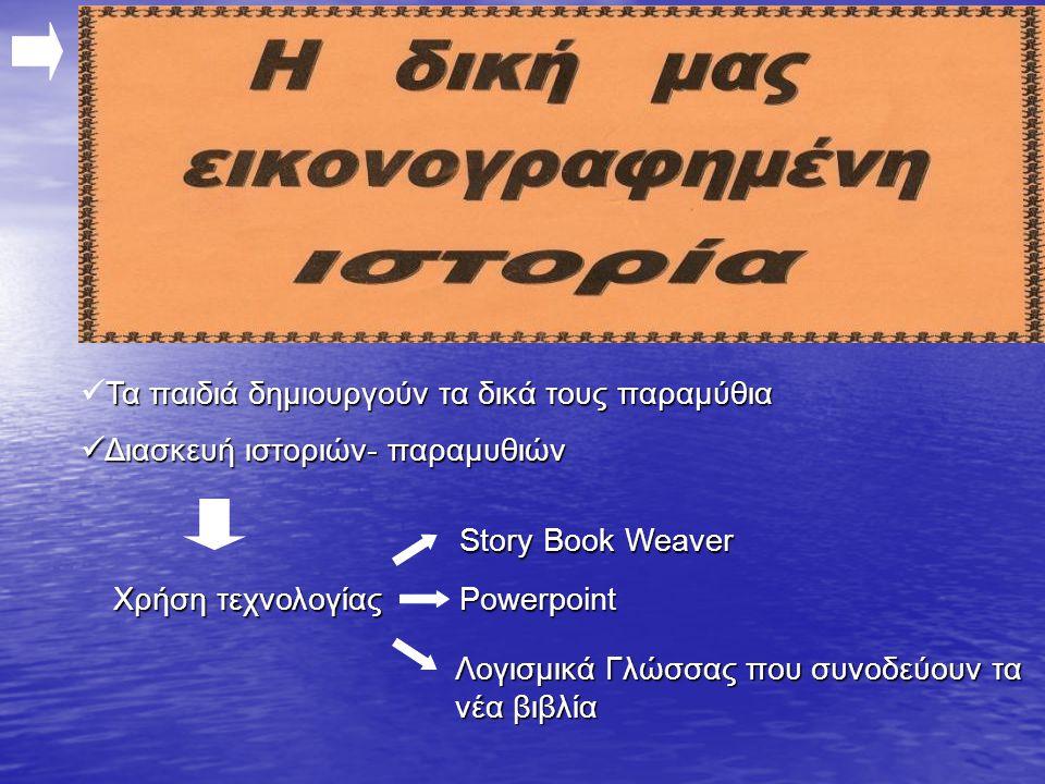 Τα παιδιά δημιουργούν τα δικά τους παραμύθια  Τα παιδιά δημιουργούν τα δικά τους παραμύθια  Διασκευή ιστοριών- παραμυθιών Χρήση τεχνολογίας Story Book Weaver Powerpoint Λογισμικά Γλώσσας που συνοδεύουν τα νέα βιβλία