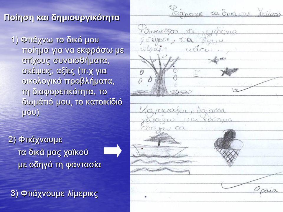 2)Φτιάχνουμε 2) Φτιάχνουμε τα δικά μας χαϊκού τα δικά μας χαϊκού με οδηγό τη φαντασία με οδηγό τη φαντασία Ποίηση και δημιουργικότητα 1)Φτιάχνω το δικ