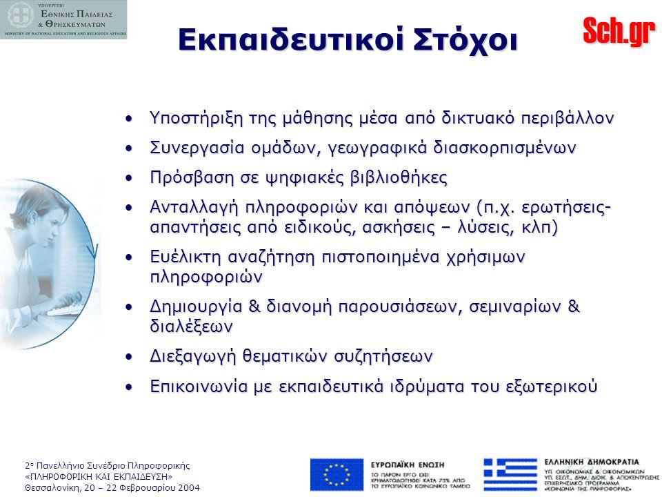 Sch.gr 2 ο Πανελλήνιο Συνέδριο Πληροφορικής «ΠΛΗΡΟΦΟΡΙΚΗ ΚΑΙ ΕΚΠΑΙΔΕΥΣΗ» Θεσσαλονίκη, 20 – 22 Φεβρουαρίου 2004 •Υποστήριξη της μάθησης μέσα από δικτυακό περιβάλλον •Συνεργασία ομάδων, γεωγραφικά διασκορπισμένων •Πρόσβαση σε ψηφιακές βιβλιοθήκες •Ανταλλαγή πληροφοριών και απόψεων (π.χ.