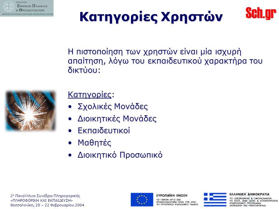 Sch.gr 2 ο Πανελλήνιο Συνέδριο Πληροφορικής «ΠΛΗΡΟΦΟΡΙΚΗ ΚΑΙ ΕΚΠΑΙΔΕΥΣΗ» Θεσσαλονίκη, 20 – 22 Φεβρουαρίου 2004 Κατηγορίες Χρηστών Η πιστοποίηση των χρηστών είναι μία ισχυρή απαίτηση, λόγω του εκπαιδευτικού χαρακτήρα του δικτύου: Κατηγορίες: • Σχολικές Μονάδες • Διοικητικές Μονάδες • Εκπαιδευτικοί • Μαθητές • Διοικητικό Προσωπικό