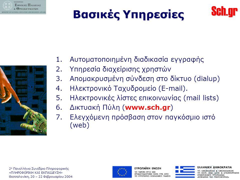 Sch.gr 2 ο Πανελλήνιο Συνέδριο Πληροφορικής «ΠΛΗΡΟΦΟΡΙΚΗ ΚΑΙ ΕΚΠΑΙΔΕΥΣΗ» Θεσσαλονίκη, 20 – 22 Φεβρουαρίου 2004 Βασικές Υπηρεσίες 1.