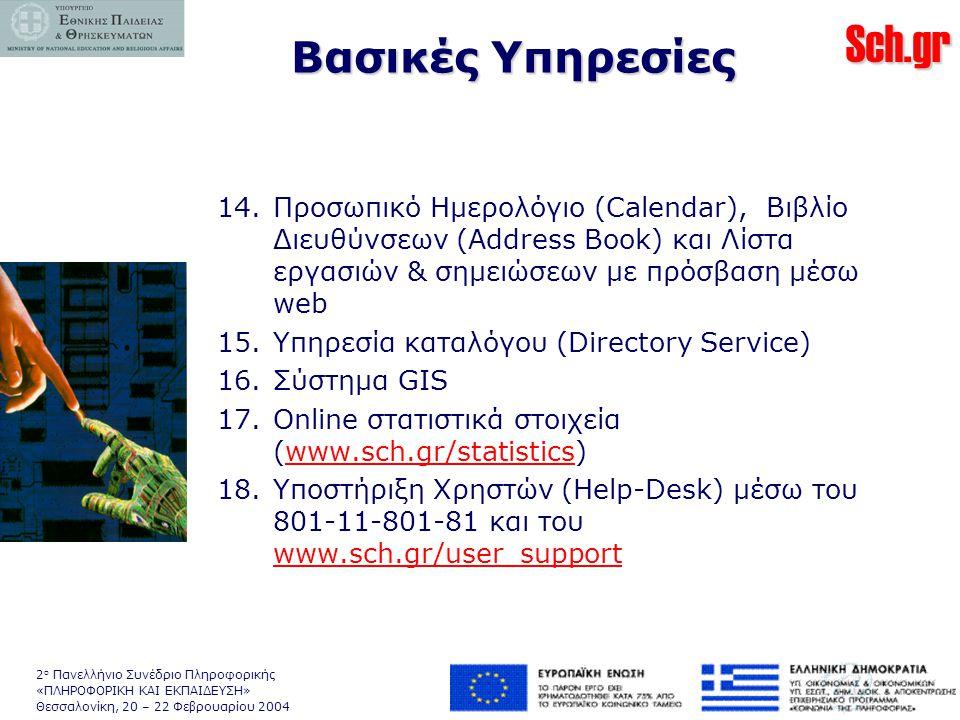 Sch.gr 2 ο Πανελλήνιο Συνέδριο Πληροφορικής «ΠΛΗΡΟΦΟΡΙΚΗ ΚΑΙ ΕΚΠΑΙΔΕΥΣΗ» Θεσσαλονίκη, 20 – 22 Φεβρουαρίου 2004 14.