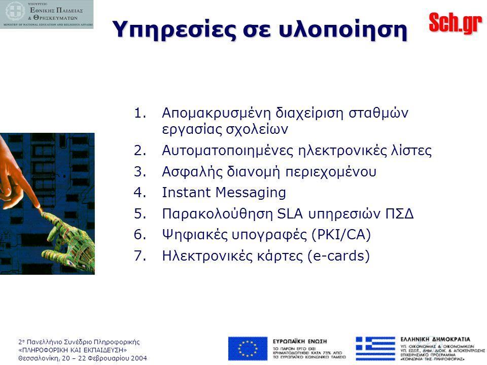 Sch.gr 2 ο Πανελλήνιο Συνέδριο Πληροφορικής «ΠΛΗΡΟΦΟΡΙΚΗ ΚΑΙ ΕΚΠΑΙΔΕΥΣΗ» Θεσσαλονίκη, 20 – 22 Φεβρουαρίου 2004 1.