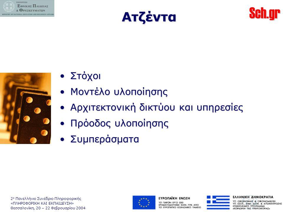 Sch.gr 2 ο Πανελλήνιο Συνέδριο Πληροφορικής «ΠΛΗΡΟΦΟΡΙΚΗ ΚΑΙ ΕΚΠΑΙΔΕΥΣΗ» Θεσσαλονίκη, 20 – 22 Φεβρουαρίου 2004 Ατζέντα •Στόχοι •Μοντέλο υλοποίησης •Αρχιτεκτονική δικτύου και υπηρεσίες •Πρόοδος υλοποίησης •Συμπεράσματα