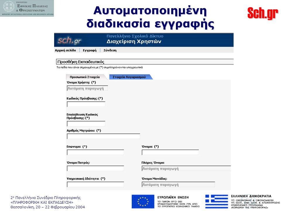 Sch.gr 2 ο Πανελλήνιο Συνέδριο Πληροφορικής «ΠΛΗΡΟΦΟΡΙΚΗ ΚΑΙ ΕΚΠΑΙΔΕΥΣΗ» Θεσσαλονίκη, 20 – 22 Φεβρουαρίου 2004 Αυτοματοποιημένη διαδικασία εγγραφής