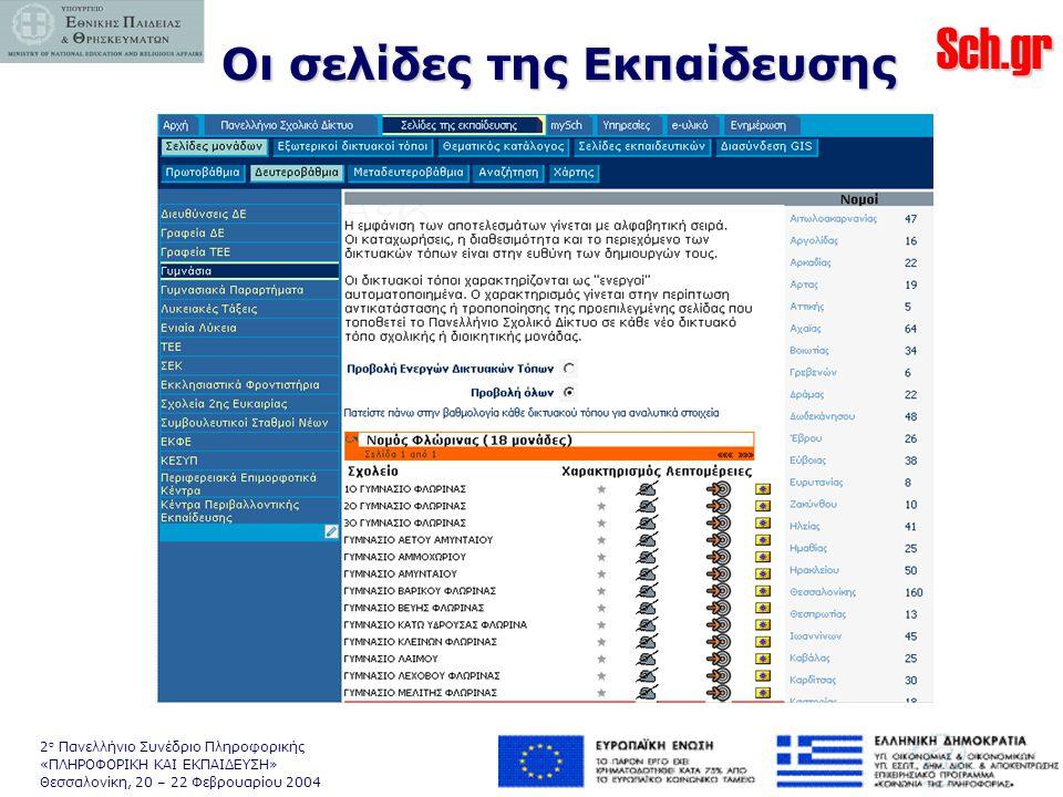 Sch.gr 2 ο Πανελλήνιο Συνέδριο Πληροφορικής «ΠΛΗΡΟΦΟΡΙΚΗ ΚΑΙ ΕΚΠΑΙΔΕΥΣΗ» Θεσσαλονίκη, 20 – 22 Φεβρουαρίου 2004 Οι σελίδες της Εκπαίδευσης