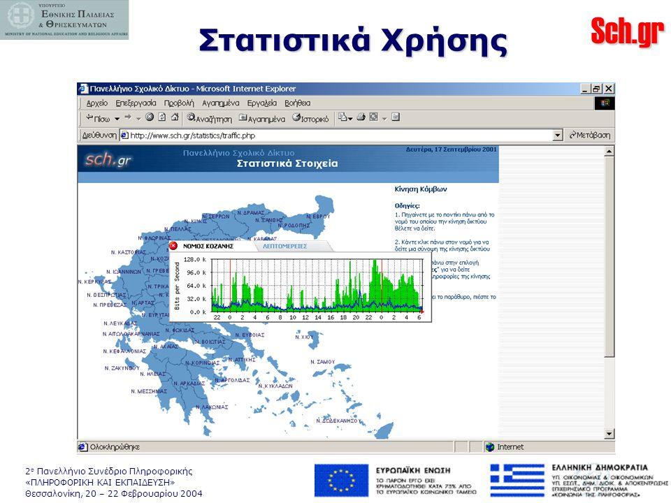 Sch.gr 2 ο Πανελλήνιο Συνέδριο Πληροφορικής «ΠΛΗΡΟΦΟΡΙΚΗ ΚΑΙ ΕΚΠΑΙΔΕΥΣΗ» Θεσσαλονίκη, 20 – 22 Φεβρουαρίου 2004 Στατιστικά Χρήσης