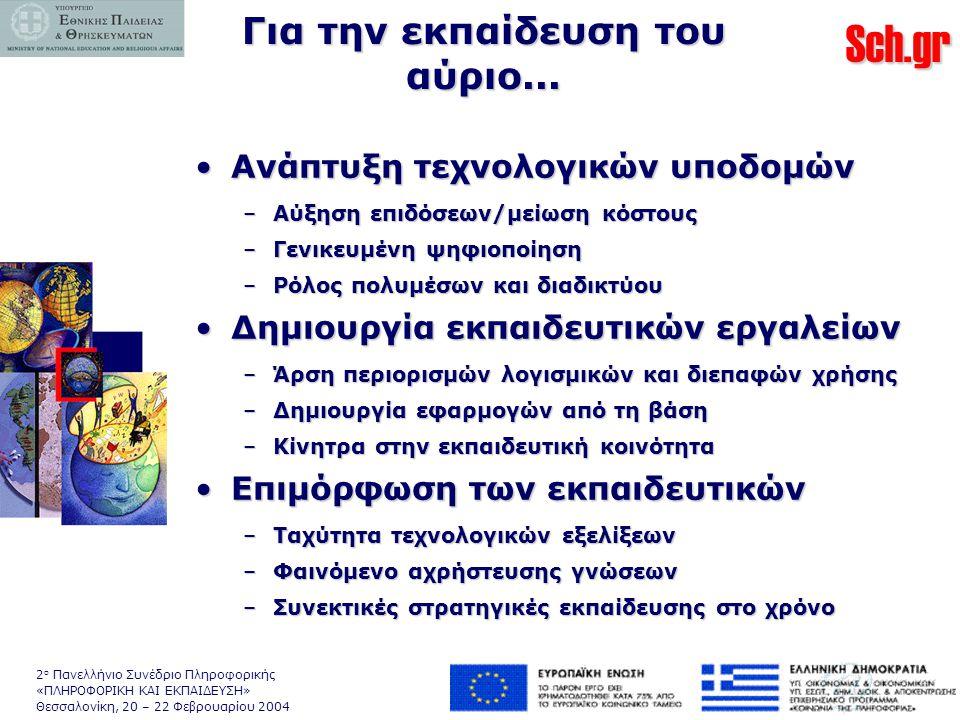 Sch.gr 2 ο Πανελλήνιο Συνέδριο Πληροφορικής «ΠΛΗΡΟΦΟΡΙΚΗ ΚΑΙ ΕΚΠΑΙΔΕΥΣΗ» Θεσσαλονίκη, 20 – 22 Φεβρουαρίου 2004 Για την εκπαίδευση του αύριο...