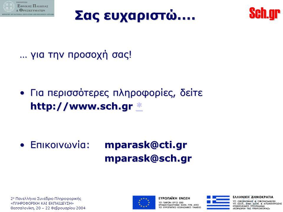 Sch.gr 2 ο Πανελλήνιο Συνέδριο Πληροφορικής «ΠΛΗΡΟΦΟΡΙΚΗ ΚΑΙ ΕΚΠΑΙΔΕΥΣΗ» Θεσσαλονίκη, 20 – 22 Φεβρουαρίου 2004 … για την προσοχή σας.