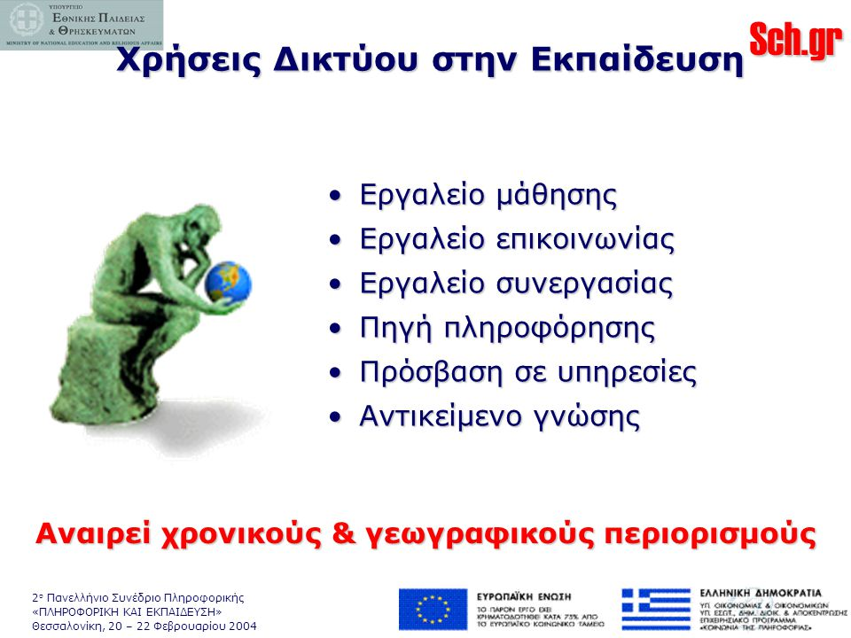 Sch.gr 2 ο Πανελλήνιο Συνέδριο Πληροφορικής «ΠΛΗΡΟΦΟΡΙΚΗ ΚΑΙ ΕΚΠΑΙΔΕΥΣΗ» Θεσσαλονίκη, 20 – 22 Φεβρουαρίου 2004 Χρήσεις Δικτύου στην Εκπαίδευση •Εργαλείο μάθησης •Εργαλείο επικοινωνίας •Εργαλείο συνεργασίας •Πηγή πληροφόρησης •Πρόσβαση σε υπηρεσίες •Αντικείμενο γνώσης Αναιρεί χρονικούς & γεωγραφικούς περιορισμούς