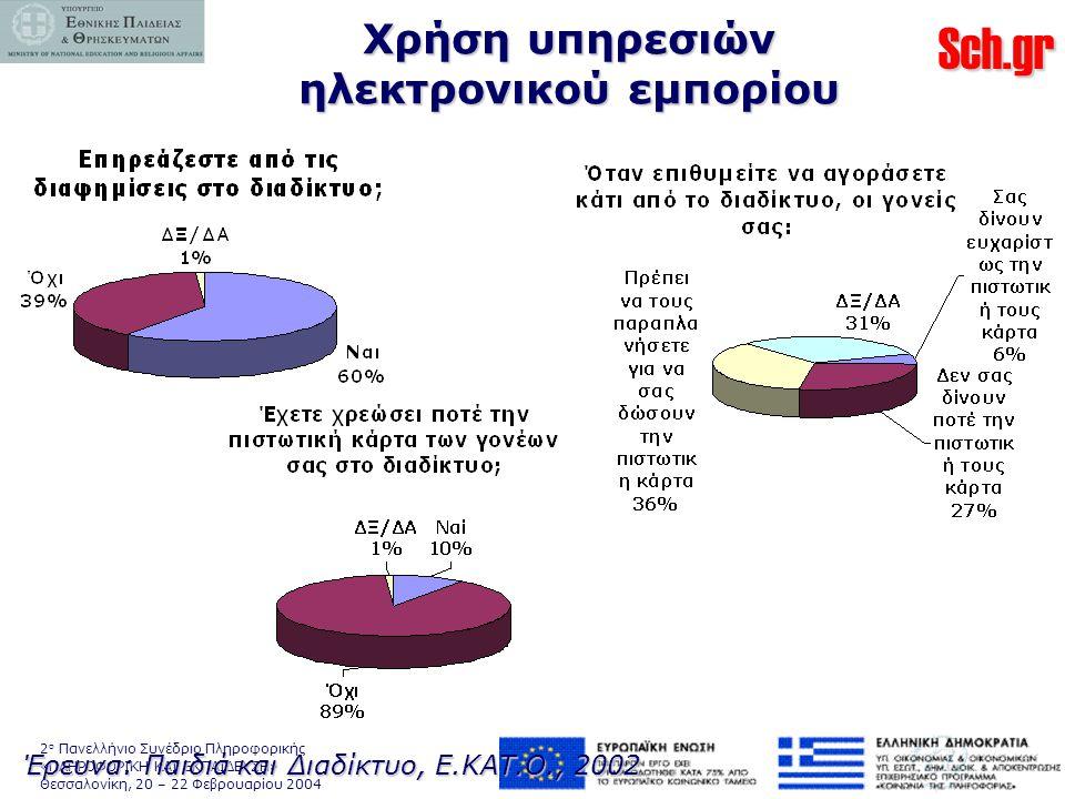 Sch.gr 2 ο Πανελλήνιο Συνέδριο Πληροφορικής «ΠΛΗΡΟΦΟΡΙΚΗ ΚΑΙ ΕΚΠΑΙΔΕΥΣΗ» Θεσσαλονίκη, 20 – 22 Φεβρουαρίου 2004 Χρήση υπηρεσιών ηλεκτρονικού εμπορίου Έρευνα: Παιδιά και Διαδίκτυο, Ε.ΚΑΤ.Ο., 2002