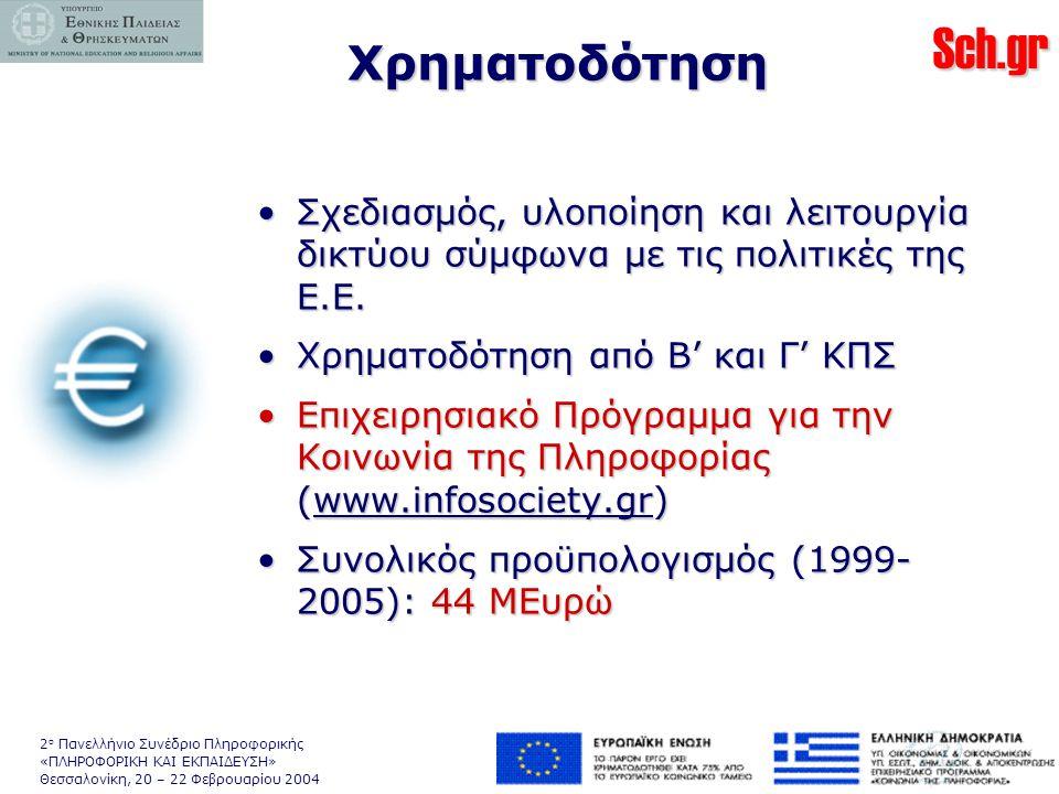 Sch.gr 2 ο Πανελλήνιο Συνέδριο Πληροφορικής «ΠΛΗΡΟΦΟΡΙΚΗ ΚΑΙ ΕΚΠΑΙΔΕΥΣΗ» Θεσσαλονίκη, 20 – 22 Φεβρουαρίου 2004 Χρηματοδότηση •Σχεδιασμός, υλοποίηση και λειτουργία δικτύου σύμφωνα με τις πολιτικές της Ε.Ε.