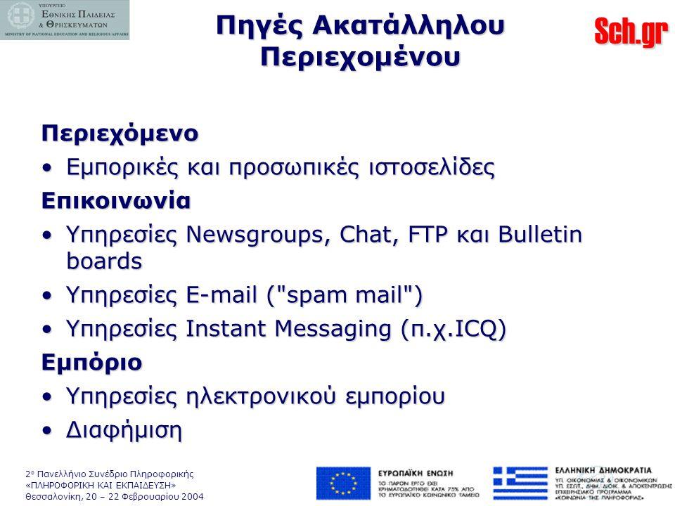 Sch.gr 2 ο Πανελλήνιο Συνέδριο Πληροφορικής «ΠΛΗΡΟΦΟΡΙΚΗ ΚΑΙ ΕΚΠΑΙΔΕΥΣΗ» Θεσσαλονίκη, 20 – 22 Φεβρουαρίου 2004 Πηγές Ακατάλληλου Περιεχομένου Περιεχόμενο •Εμπορικές και προσωπικές ιστοσελίδες Επικοινωνία •Υπηρεσίες Newsgroups, Chat, FTP και Bulletin boards •Υπηρεσίες E-mail ( spam mail ) •Υπηρεσίες Instant Messaging (π.χ.ICQ) Εμπόριο •Υπηρεσίες ηλεκτρονικού εμπορίου •Διαφήμιση