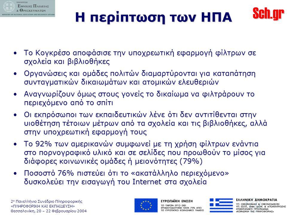 Sch.gr 2 ο Πανελλήνιο Συνέδριο Πληροφορικής «ΠΛΗΡΟΦΟΡΙΚΗ ΚΑΙ ΕΚΠΑΙΔΕΥΣΗ» Θεσσαλονίκη, 20 – 22 Φεβρουαρίου 2004 Η περίπτωση των ΗΠΑ •Το Κογκρέσο αποφάσισε την υποχρεωτική εφαρμογή φίλτρων σε σχολεία και βιβλιοθήκες •Οργανώσεις και ομάδες πολιτών διαμαρτύρονται για καταπάτηση συνταγματικών δικαιωμάτων και ατομικών ελευθεριών •Αναγνωρίζουν όμως στους γονείς το δικαίωμα να φιλτράρουν το περιεχόμενο από το σπίτι •Οι εκπρόσωποι των εκπαιδευτικών λένε ότι δεν αντιτίθενται στην υιοθέτηση τέτοιων μέτρων από τα σχολεία και τις βιβλιοθήκες, αλλά στην υποχρεωτική εφαρμογή τους •Το 92% των αμερικανών συμφωνεί με τη χρήση φίλτρων ενάντια στο πορνογραφικό υλικό και σε σελίδες που προωθούν το μίσος για διάφορες κοινωνικές ομάδες ή μειονότητες (79%) •Ποσοστό 76% πιστεύει ότι το «ακατάλληλο περιεχόμενο» δυσκολεύει την εισαγωγή του Internet στα σχολεία