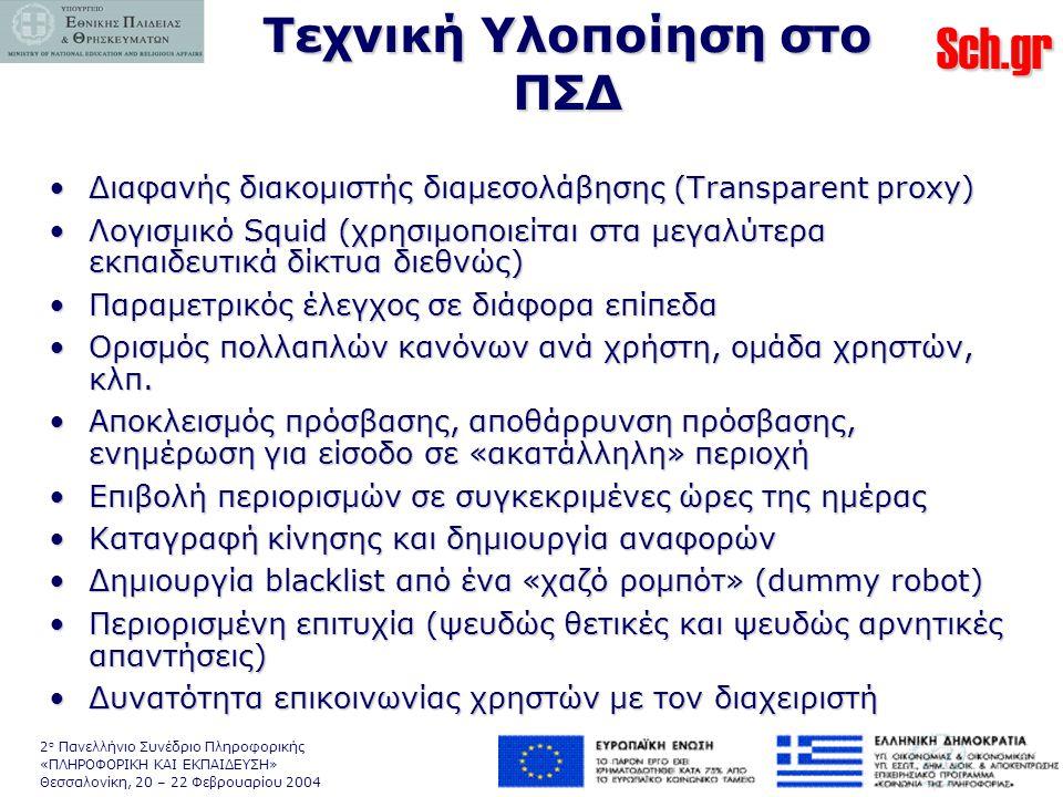 Sch.gr 2 ο Πανελλήνιο Συνέδριο Πληροφορικής «ΠΛΗΡΟΦΟΡΙΚΗ ΚΑΙ ΕΚΠΑΙΔΕΥΣΗ» Θεσσαλονίκη, 20 – 22 Φεβρουαρίου 2004 Τεχνική Υλοποίηση στο ΠΣΔ •Διαφανής διακομιστής διαμεσολάβησης (Transparent proxy) •Λογισμικό Squid (χρησιμοποιείται στα μεγαλύτερα εκπαιδευτικά δίκτυα διεθνώς) •Παραμετρικός έλεγχος σε διάφορα επίπεδα •Ορισμός πολλαπλών κανόνων ανά χρήστη, ομάδα χρηστών, κλπ.