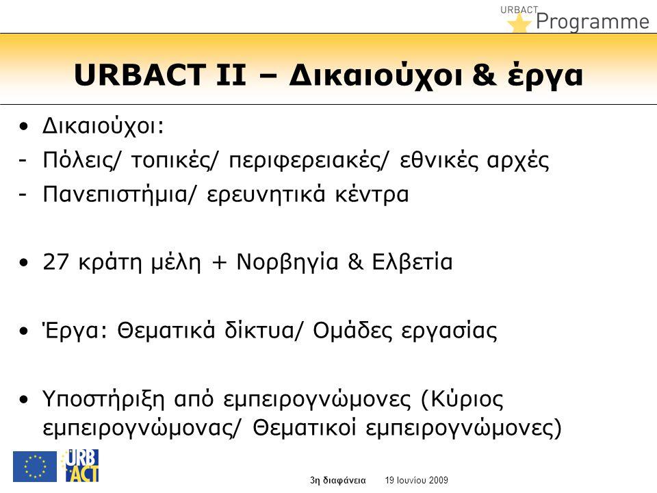 URBACT II – Δικαιούχοι & έργα •Δικαιούχοι: -Πόλεις/ τοπικές/ περιφερειακές/ εθνικές αρχές -Πανεπιστήμια/ ερευνητικά κέντρα •27 κράτη μέλη + Νορβηγία &