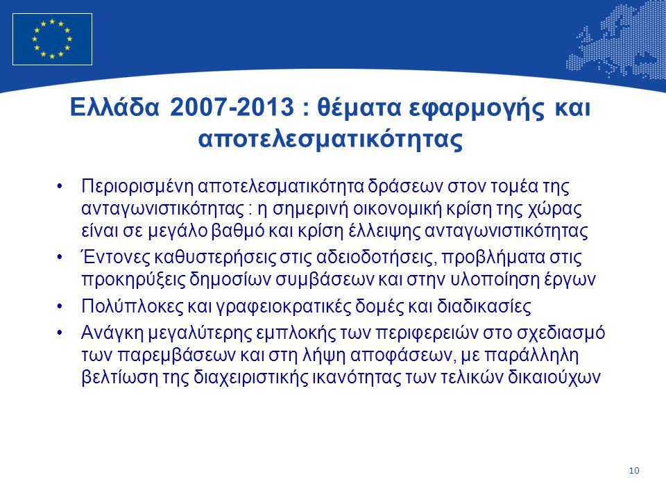 10 European Union Regional Policy – Employment, Social Affairs and Inclusion Ελλάδα 2007-2013 : θέματα εφαρμογής και αποτελεσματικότητας •Περιορισμένη αποτελεσματικότητα δράσεων στον τομέα της ανταγωνιστικότητας : η σημερινή οικονομική κρίση της χώρας είναι σε μεγάλο βαθμό και κρίση έλλειψης ανταγωνιστικότητας •Έντονες καθυστερήσεις στις αδειοδοτήσεις, προβλήματα στις προκηρύξεις δημοσίων συμβάσεων και στην υλοποίηση έργων •Πολύπλοκες και γραφειοκρατικές δομές και διαδικασίες •Ανάγκη μεγαλύτερης εμπλοκής των περιφερειών στο σχεδιασμό των παρεμβάσεων και στη λήψη αποφάσεων, με παράλληλη βελτίωση της διαχειριστικής ικανότητας των τελικών δικαιούχων