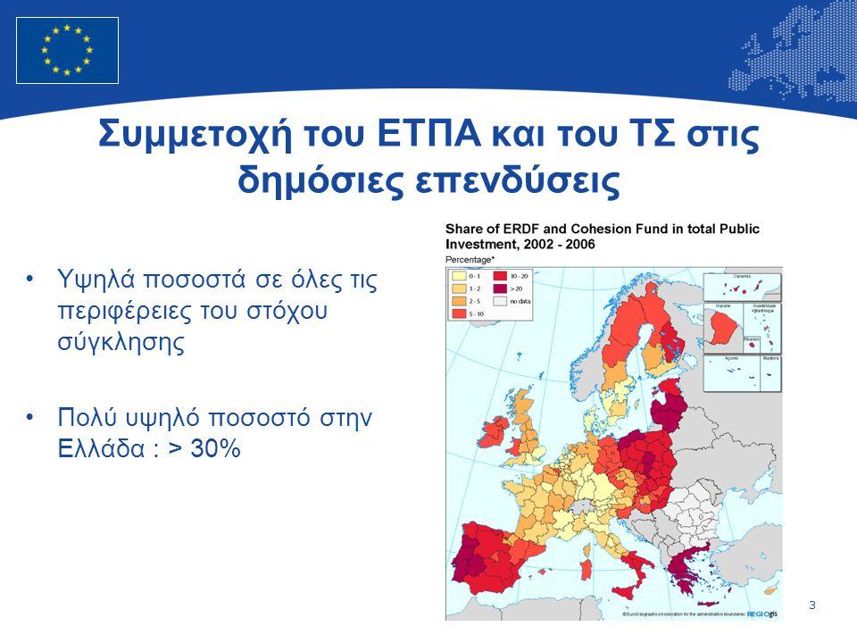 3 European Union Regional Policy – Employment, Social Affairs and Inclusion Συμμετοχή του ΕΤΠΑ και του ΤΣ στις δημόσιες επενδύσεις •Υψηλά ποσοστά σε όλες τις περιφέρειες του στόχου σύγκλησης •Πολύ υψηλό ποσοστό στην Ελλάδα : > 30%