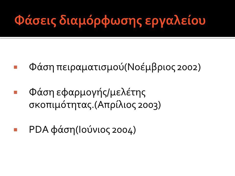  Φάση πειραματισμού(Νοέμβριος 2002)  Φάση εφαρμογής/μελέτης σκοπιμότητας.(Απρίλιος 2003)  PDA φάση(Ιούνιος 2004)