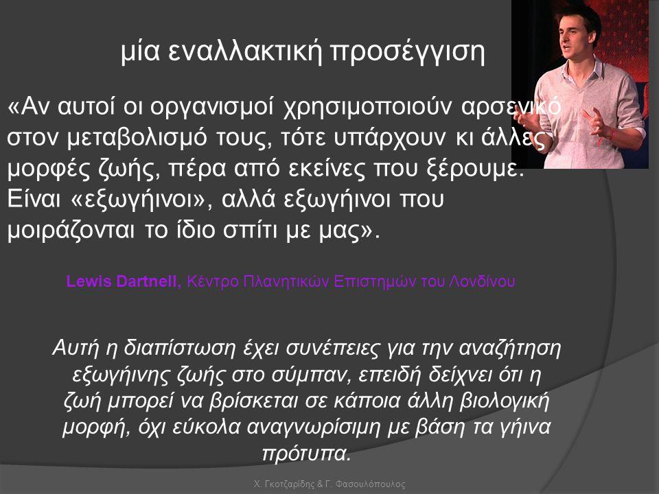 Χ. Γκοτζαρίδης & Γ. Φασουλόπουλος μία εναλλακτική προσέγγιση Αυτή η διαπίστωση έχει συνέπειες για την αναζήτηση εξωγήινης ζωής στο σύμπαν, επειδή δείχ