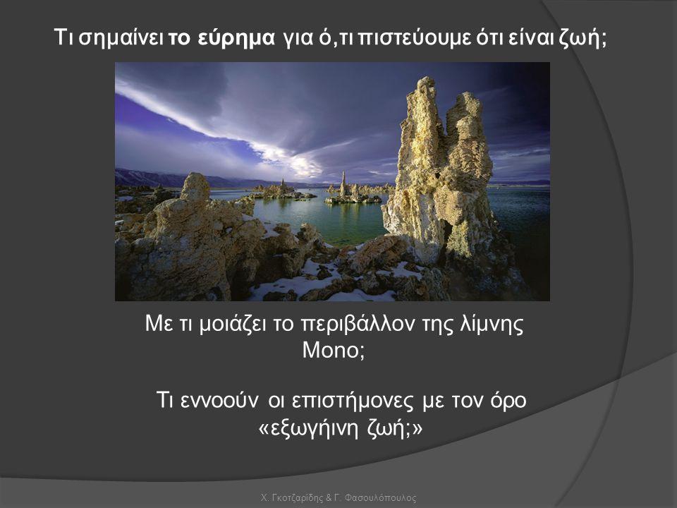 Χ. Γκοτζαρίδης & Γ. Φασουλόπουλος Τι σημαίνει το εύρημα για ό,τι πιστεύουμε ότι είναι ζωή; Με τι μοιάζει το περιβάλλον της λίμνης Mono; Τι εννοούν οι