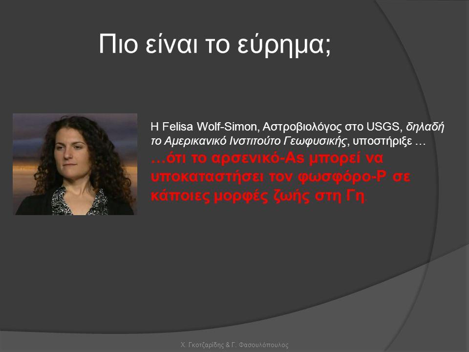 Χ. Γκοτζαρίδης & Γ. Φασουλόπουλος Πιο είναι το εύρημα; Η Felisa Wolf-Simon, Αστροβιολόγος στο USGS, δηλαδή το Αμερικανικό Ινστιτούτο Γεωφυσικής, υποστ