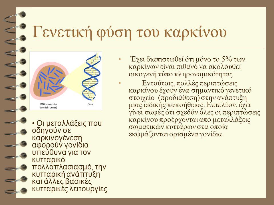 Γενετική φύση του καρκίνου • Έχει διαπιστωθεί ότι μόνο το 5% των καρκίνων είναι πιθανό να ακολουθεί οικογενή τύπο κληρονομικότητας • Εντούτοις, πολλές περιπτώσεις καρκίνου έχουν ένα σημαντικό γενετικό στοιχείο (προδιάθεση) στην ανάπτυξη μιας ειδικής κακοήθειας.
