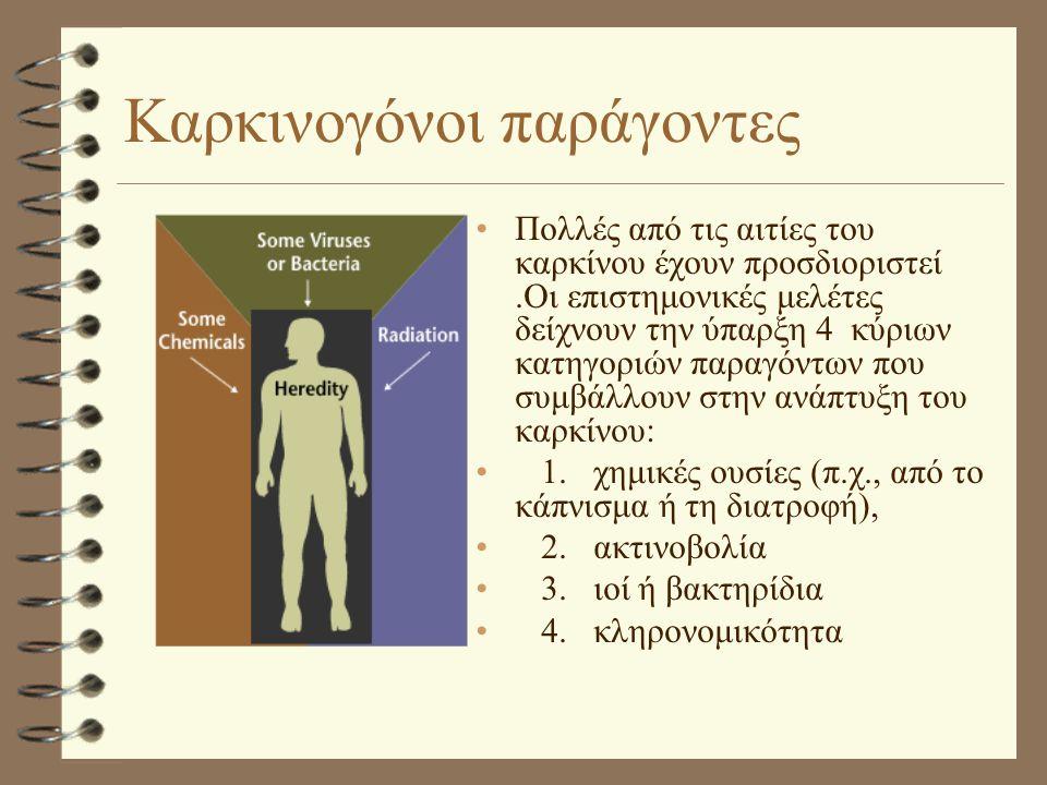 Καρκινογόνοι παράγοντες •Πολλές από τις αιτίες του καρκίνου έχουν προσδιοριστεί.Οι επιστημονικές μελέτες δείχνουν την ύπαρξη 4 κύριων κατηγοριών παραγόντων που συμβάλλουν στην ανάπτυξη του καρκίνου: • 1.