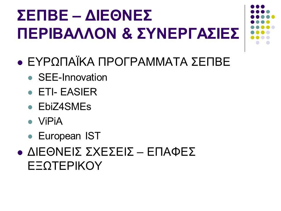 ΣΕΠΒΕ – ΔΙΕΘΝΕΣ ΠΕΡΙΒΑΛΛΟΝ & ΣΥΝΕΡΓΑΣΙΕΣ  ΕΥΡΩΠΑΪΚΑ ΠΡΟΓΡΑΜΜΑΤΑ ΣΕΠΒΕ  SEE-Innovation  ETI- EASIER  EbiZ4SMEs  ViPiA  European IST  ΔΙΕΘΝΕΙΣ ΣΧΕΣΕΙΣ – ΕΠΑΦΕΣ ΕΞΩΤΕΡΙΚΟΥ