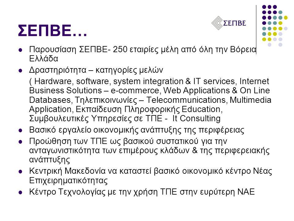 ΣΕΠΒΕ…  Παρουσίαση ΣΕΠΒΕ- 250 εταιρίες μέλη από όλη την Βόρεια Ελλάδα  Δραστηριότητα – κατηγορίες μελών ( Hardware, software, system integration & IT services, Internet Business Solutions – e-commerce, Web Applications & On Line Databases, Τηλεπικοινωνίες – Telecommunications, Multimedia Application, Εκπαίδευση Πληροφορικής Education, Συμβουλευτικές Υπηρεσίες σε ΤΠΕ - It Consulting  Βασικό εργαλείο οικονομικής ανάπτυξης της περιφέρειας  Προώθηση των ΤΠΕ ως βασικού συστατικού για την ανταγωνιστικότητα των επιμέρους κλάδων & της περιφερειακής ανάπτυξης  Κεντρική Μακεδονία να καταστεί βασικό οικονομικό κέντρο Νέας Επιχειρηματικότητας  Κέντρο Τεχνολογίας με την χρήση ΤΠΕ στην ευρύτερη ΝΑΕ
