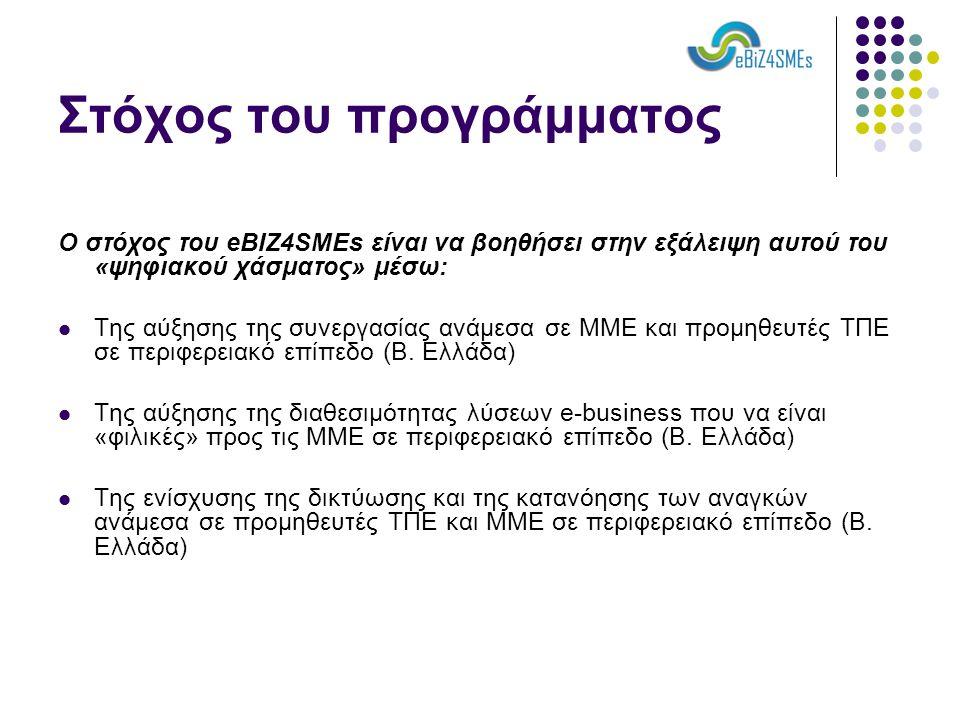 Στόχος του προγράμματος Ο στόχος του eBIZ4SMEs είναι να βοηθήσει στην εξάλειψη αυτού του «ψηφιακού χάσματος» μέσω:  Της αύξησης της συνεργασίας ανάμεσα σε ΜΜΕ και προμηθευτές ΤΠΕ σε περιφερειακό επίπεδο (Β.