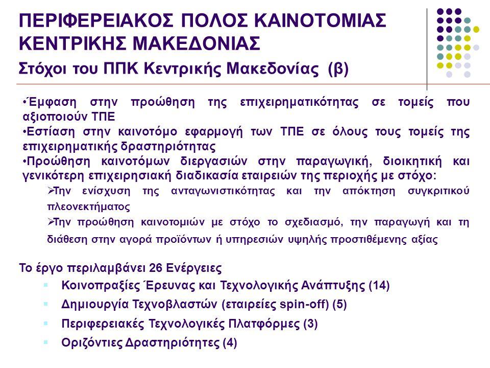 ΠΕΡΙΦΕΡΕΙΑΚΟΣ ΠΟΛΟΣ ΚΑΙΝΟΤΟΜΙΑΣ ΚΕΝΤΡΙΚΗΣ ΜΑΚΕΔΟΝΙΑΣ Στόχοι του ΠΠΚ Κεντρικής Μακεδονίας (β) •Έμφαση στην προώθηση της επιχειρηματικότητας σε τομείς που αξιοποιούν ΤΠΕ •Εστίαση στην καινοτόμο εφαρμογή των ΤΠΕ σε όλους τους τομείς της επιχειρηματικής δραστηριότητας •Προώθηση καινοτόμων διεργασιών στην παραγωγική, διοικητική και γενικότερη επιχειρησιακή διαδικασία εταιρειών της περιοχής με στόχο:  Την ενίσχυση της ανταγωνιστικότητας και την απόκτηση συγκριτικού πλεονεκτήματος  Την προώθηση καινοτομιών με στόχο το σχεδιασμό, την παραγωγή και τη διάθεση στην αγορά προϊόντων ή υπηρεσιών υψηλής προστιθέμενης αξίας Το έργο περιλαμβάνει 26 Ενέργειες  Κοινοπραξίες Έρευνας και Τεχνολογικής Ανάπτυξης (14)  Δημιουργία Τεχνοβλαστών (εταιρείες spin-off) (5)  Περιφερειακές Τεχνολογικές Πλατφόρμες (3)  Οριζόντιες Δραστηριότητες (4)