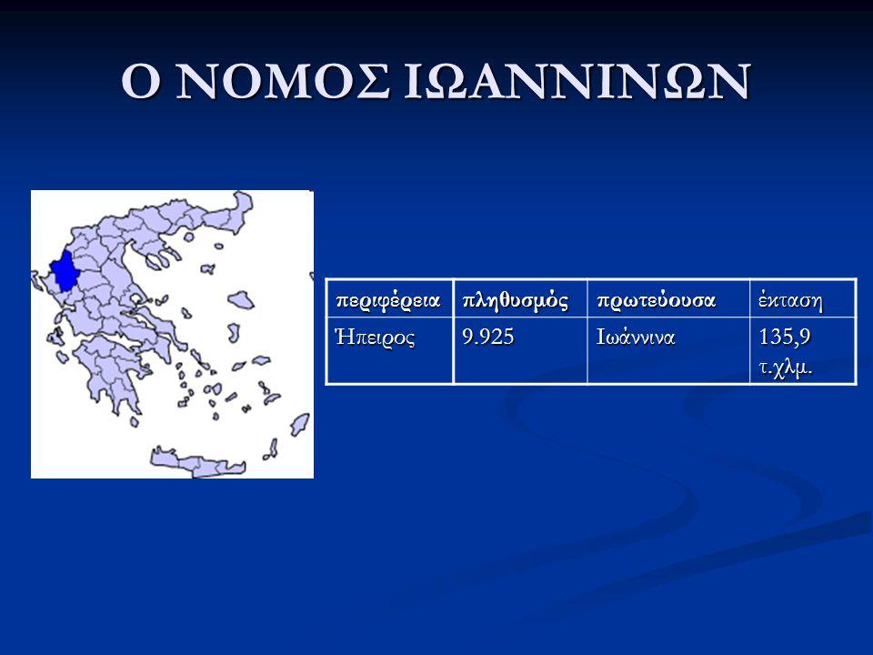 Ο ΝΟΜΟΣ ΙΩΑΝΝΙΝΩΝ περιφέρειαπληθυσμόςπρωτεύουσαέκτασηΉπειρος9.925Ιωάννινα 135,9 τ.χλμ.