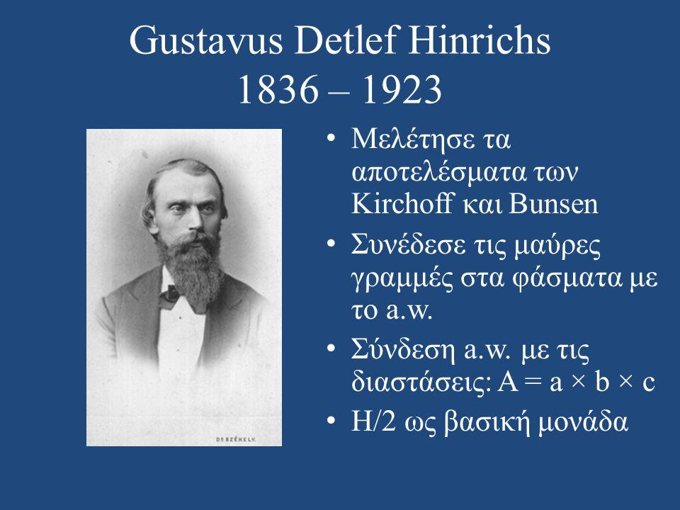 Gustavus Detlef Hinrichs 1836 – 1923 • Μελέτησε τα αποτελέσματα των Kirchoff και Bunsen • Συνέδεσε τις μαύρες γραμμές στα φάσματα με το a.w. • Σύνδεση