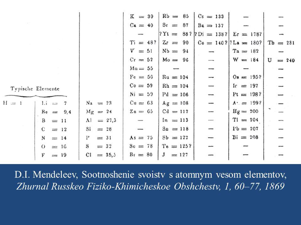 D.I. Mendeleev, Sootnoshenie svoistv s atomnym vesom elementov, Zhurnal Russkeo Fiziko-Khimicheskoe Obshchestv, 1, 60–77, 1869